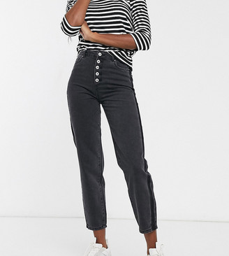 Only Tall Kelis button front mom jeans in black-Orange