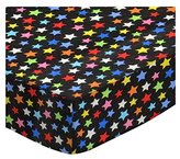 Camilla And Marc SheetWorld Round Crib Sheets - Primary Colorful Stars On Black Woven - Made In USA - 106.7 cm (42 inches)