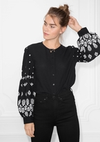 Other Stories Embroidery Puff Sleeve Blouse