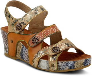 Spring Step L'Artiste By Printed Leather Sandals - Prosperity