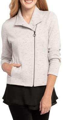 Nic+Zoe Festive Faux Fur Trim Asymmetric Zip-Front Jacket