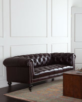 Old Hickory Tannery Morgan Aubergine Chesterfield Leather Sofa