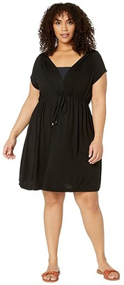 Dotti Plus Size Resort Solids Raglan Hoodie Dress Cover-Up (Black) Women's Swimwear