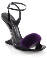 Giuseppe Zanotti Garconne 105 Mink Fur & Patent Leather Sculpted Wedge Sandals
