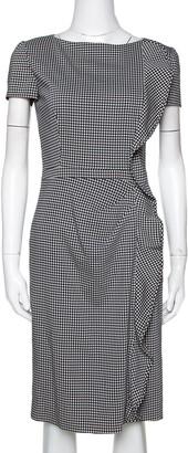 Valentino Black Houndstooth Print Wool Ruffle Trim Midi Dress S