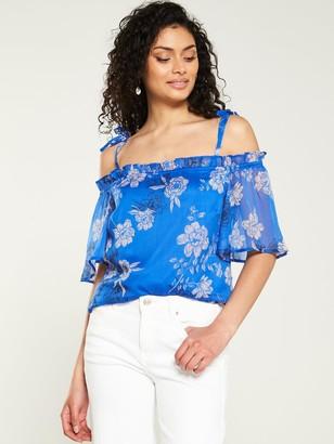 Very Floral Cold Shoulder Blouse - Blue Floral
