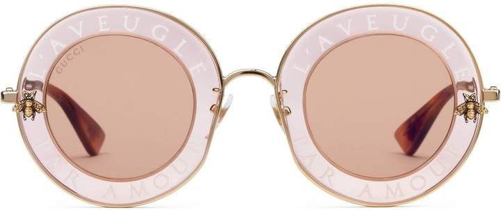 Gucci Round-frame metal sunglasses
