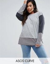 Asos T-Shirt in Washed Stripe and Panel Detail