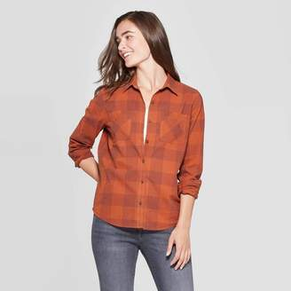 Universal Thread Women's Plaid Long Sleeve Cotton Flannel Shirt - Universal ThreadTM Rust