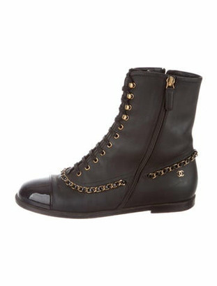 Chanel 2017 Chain-Link Accent Combat Boots Black