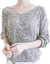 Fashion Story Women Solid V-neck Hollow Long Batwing Sleeve Pullover Knitted Sweaters Tops