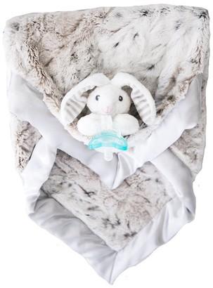 Zalamoon Luxie Pocket Plush Blanket with RaZbaby RaZ-Buddy JollyPop Pacifier - Snow Leopard with Coco Bunny