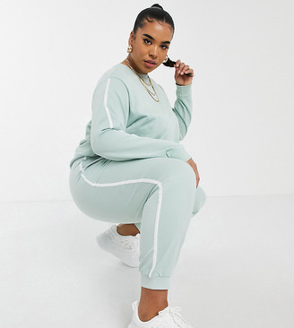ASOS DESIGN Curve tracksuit sweat / basic jogger with contrast binding in organic cotton in sage green