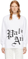 Palm Angels White Side New Gothic Long Sleeve T-Shirt