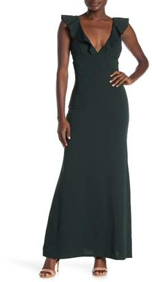 Jump Ruffled V-Neck Crepe Gown