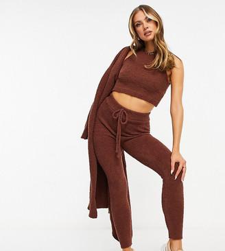 Missy Empire exclusive teddy borg drawstring legging in chocolate