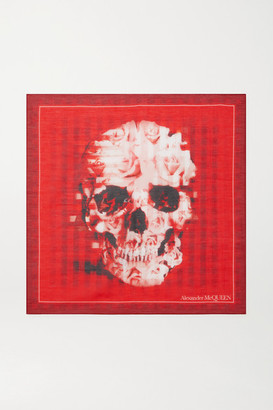 Alexander McQueen Printed Cotton And Silk-blend Scarf - Red