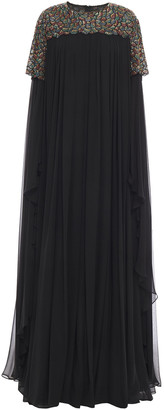 Carolina Herrera Cape-effect Embellished Silk-chiffon Gown