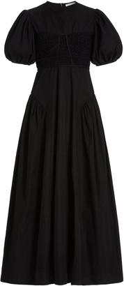 Cecilie Bahnsen Clementine Puffed-Sleeve Cotton-Blend Maxi Dress