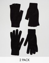 Asos 2 Pack Fingerless and Touchscreen Gloves in Black SAVE