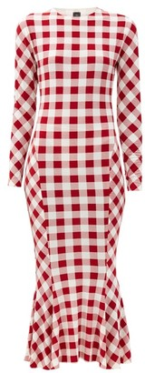 Norma Kamali Gingham-print Fluted Jersey Midi Dress - Red White