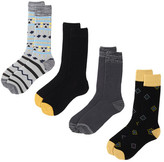 Lucky Brand Native Striped & Diamonds Crew Cut Socks - Pack of 4