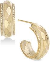 Macy's Dimensional Faceted Edged Hoop Earrings in 10k Gold