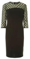 Dorothy Perkins Womens Black Green Diamond Bodycon Dress, Black