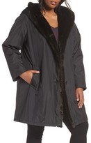 Gallery Plus Size Women's A-Line Storm Coat With Faux Fur Lining & Trim