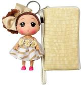 Isa Belle Unico Corp. Unico 'Isabelle' Beige Leather Wristlet with Doll Keychain