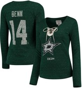 Reebok Women's Jamie Benn Green Dallas Stars Henley Lace Up Name & Number Long Sleeve T-Shirt