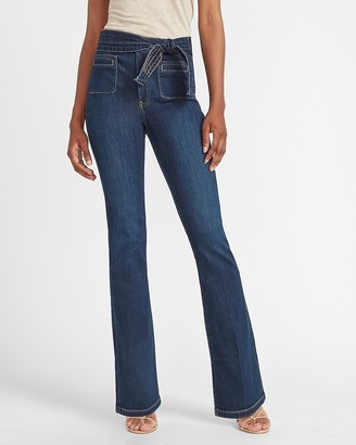 Express High Waisted Belted Bootcut Jeans