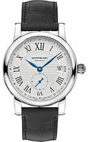 Montblanc 111881 Star Date Alligator Leather Strap Watch, Black/white