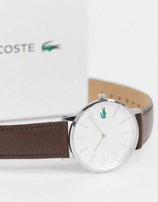 Lacoste Moon leather watch in dark brown