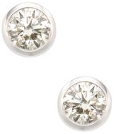 14K White Gold & 0.60 Total Ct. Diamond Bezel Stud Earrings