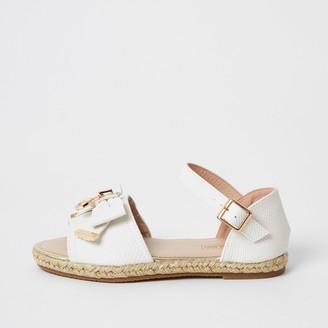 River Island Girls White bow espadrille sandals