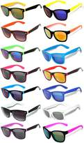 OWL Wholesale Bulk 14 Pairs Matte Colored Frame Mirrored and Smoke Lens Sunglasses