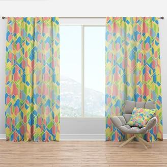 Design Art Designart 'Geometrical Pastel Abstract II' Mid-Century Modern Curtain Panel