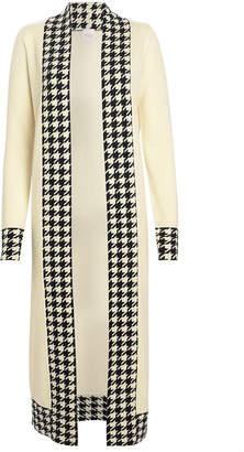 Madeleine Thompson Anita Houndstooth-Trimmed Cashmere Duster