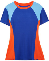 Tory Sport Color-block Coolmax Stretch-cotton Jersey T-shirt - Blue