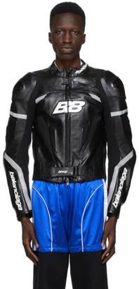 Balenciaga Black and White Leather Motorcycle Jacket