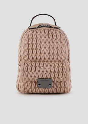 Emporio Armani Mini Backpack In Quilted Faux Nappa Leather With Drop Motif