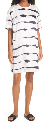 ATM Anthony Thomas Melillo ATM Tie Dye Stripe Silk T-Shirt Dress