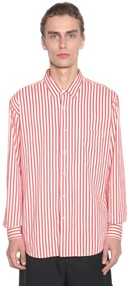 Ami Alexandre Mattiussi Striped Viscose Shirt W/ Chest Pocket