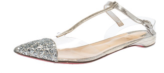 Christian Louboutin Silver Coarse Glitter, Leather And PVC Nosy T Strap Sandals Size 39.5