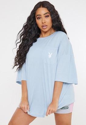 Missguided x Plus Size Blue Repeat Logo Pocket T Shirt