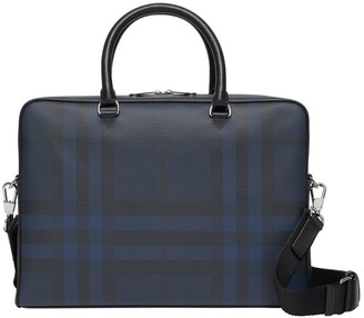 Check And Leather Briefcase