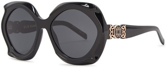 Elie Saab Black Oversized Sunglasses