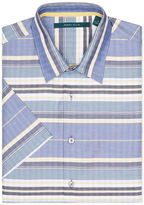 Perry Ellis Short Sleeve Horizontal Striped Button-Down Shirt