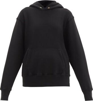 LES TIEN Brushed-back Cotton Hooded Sweatshirt - Black